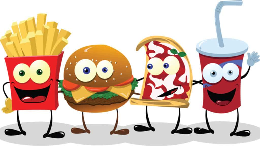 A group of friendly Fast Food meals 2