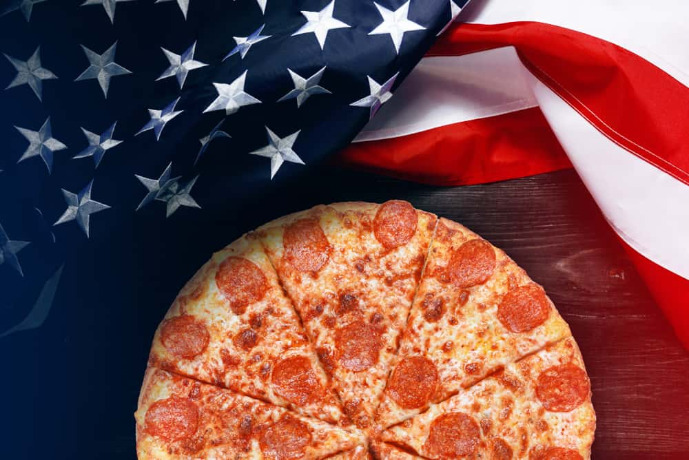 American flag and pizza